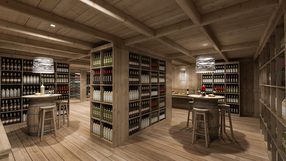 Studio sagitair architettura interior design render for Arredamento enoteca