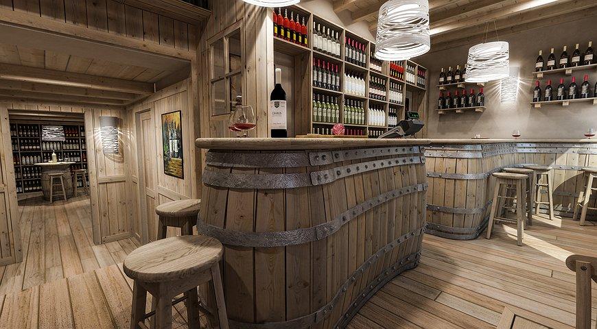 Studio sagitair architettura interior design render for Arredamento enoteca