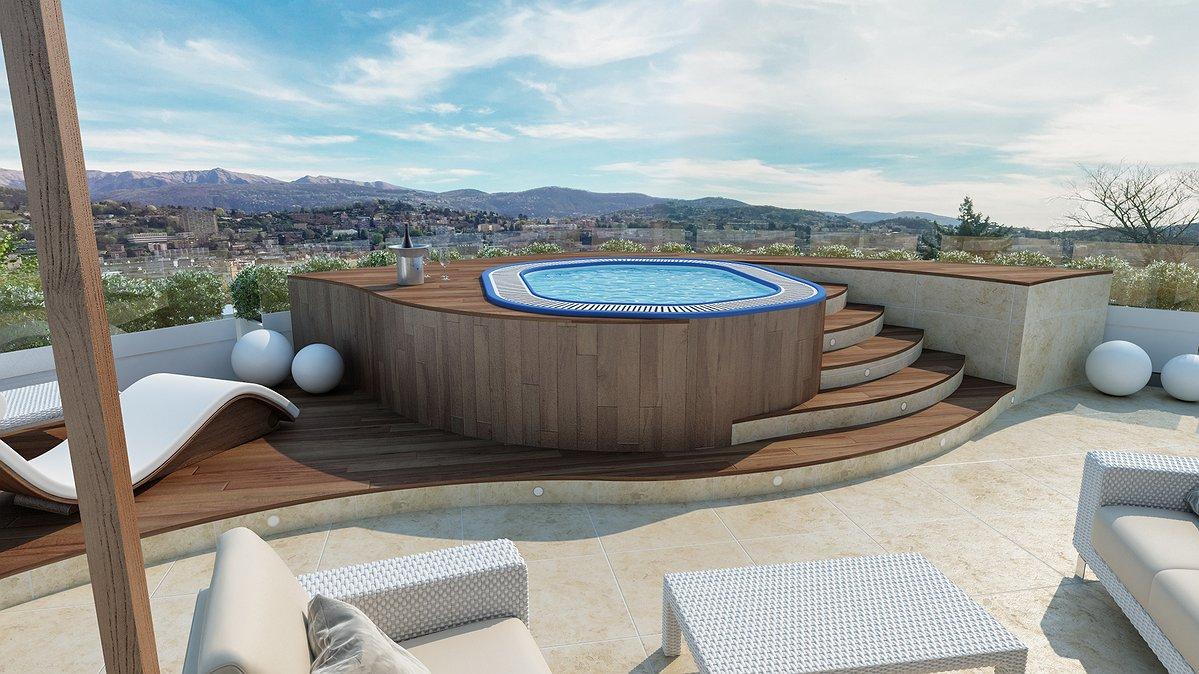 Studio sagitair architettura interior design render progetto - Attico con piscina ...
