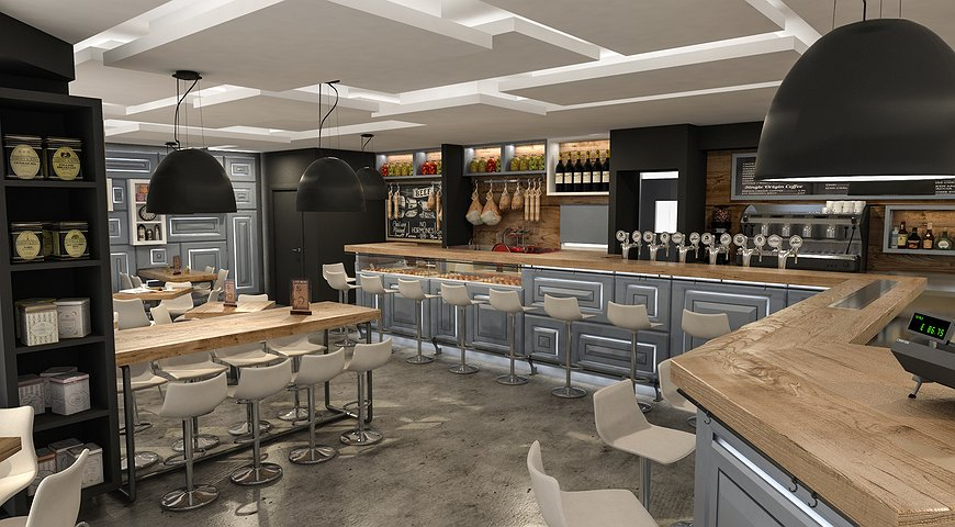 Studio sagitair architettura interior design render for Bar stile industriale